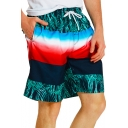 Fashion Tropical Plants Printed Drawstring Waist Mens Beach Swim Shorts with Liner