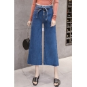 Women's New Trendy Button-Fly Tied Waist Blue Wide-Leg Jeans