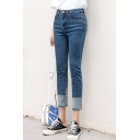 Womens High-Waisted Fashion Patchwork Hem Regular Fit Blue Capri Jeans