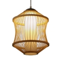 Bamboo Ceiling Light Fixture Single Light Rustic Style Pendant Lighting in Beige for Kitchen Hallway