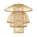 Single Light LED Pendant Lighting Antique Style Rattan Ceiling Light in Beige for Dining Room Foyer