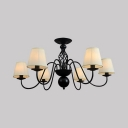 Tapered Shade Living Room Chandelier Metal and Fabric 6/8/10 Lights Classic LED Suspension Light in Black