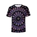 Notre Dame de Paris Cool 3D Printed Short Sleeve Purple T-Shirt