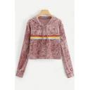 Rainbow Stripe Print Pink Casual Loose Pullover Velvet Hoodie