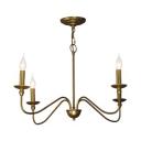 Candle Shape Bedroom Hallway Chandelier Metal 4/6/8 Lights Vintage Style Suspension Light in Brass