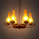 Glass and Metal Kerosene Hanging Lamp 6 Lights Antique Style Pendant Lighting for Living Room Coffee Shop