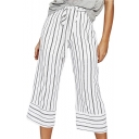 Summer Classic Trendy Stripe Printed Tied Waist Capri Wide Leg White Pants for Women