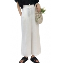 Women's Summer Ultra Thin Drawstring Waist Solid Color White Wide-Leg Pants
