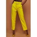 Women's New Stylish Belted Waist High Rise Solid Color Capri Business Suit Pants