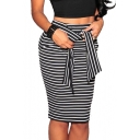 High Rise Tied Waist Fashion Stripe Printed Knee Length Bodycon Skirt