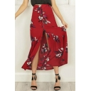 Summer Fancy Floral Bird Pattern Ruffle Hem Button Down Maxi Cotton Skirt