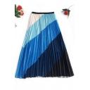 Summer New Trendy Rainbow Colorblock A-Line Long Pleated Skirt