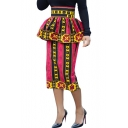 Fashion Pink Tribal Printed Peplum High Rise Midi Pencil Skirt