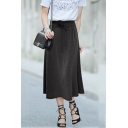 Womens High Rise Lace-Up Front Solid Color Long Full Skirt Modal Skirt