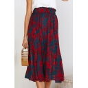 Womens New Fancy Floral Printed Elastic Waist Midi Navy Pleated Skirt