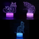 USB Battery Charger 3D Illusion Light Boys Girls Room Cat Pattern Touch Sensor 7 Color Changing LED Night Light