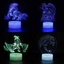 7 Color Changing 3D LED Night Lamp Acrylic Flat Touch Sensor Dragon Illusion Light for Bedroom Boys Gift