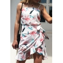 Holiday Beach Trendy Floral Printed Knotted Waist Ruffle Mini Slip Dress