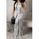 Summer New Fashion Unique Pattern Sleeveless Maxi Bodycon Beach Dress