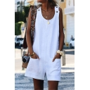 New Trendy Basic Solid Color Sleeveless Casual Loose Rompers with Pocket