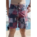 Mens Red Colorblock Fashion Flap Pocket Side Surfing Shorts Swim Trunks
