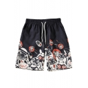 Guys Summer New Trendy Cartoon Pattern Drawstring Waist Black Relaxed Shorts