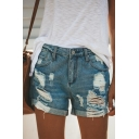Womens Street Fashion Rolled Hem Distressed Ripped Casual Blue Denim Shorts