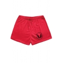 Mens Basic Simple Letter Logo Printed Drawstring Waist Fitness Cotton Quick Dry Swim Shorts