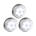 3/6 Pack Battery Powered Silver Cabinet Lighting Motion Sensing and Auto Dusk to Dawn Sensing Round Counter Lighting in Warm/White