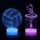 Volleyball/Ballet Pattern LED Night Light 7 Color Changing LED Bedside Light with Touch Sensor for Bedroom Bathroom