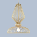 Metal Wire Cage Ceiling Light Living Room Hotel 1 Light Rustic Style Pendant Light in Gold