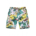 Awesome Drawstring Mens Trees Beachside Swim Trunks with Pockets
