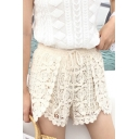 Womens New Stylish Drawstring Waist Lace Crochet Casual Shorts