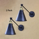 Pack of 2 Black Cone Wall Light 1 Light Vintage Style Metal Adjustable Wall Sconce for Kitchen Bar
