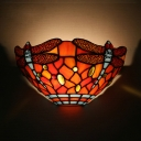 Colorful Dragonfly Pattern Sconce Light Tiffany Style Glass Wall Lamp for Living Room Restaurant