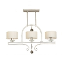 Metal and Fabric Island Pendant White Drum Shade Living Room 3 Lights Elegant Style Ceiling Light