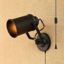 Stair Hallway Cup Shape Wall Light Metal 1 Light Vintage Style Black Sconce Light with Plug In Cord
