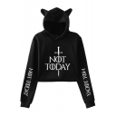 Unique Sword Letter NOT TODAY Cat Ear Design Long Sleeve Pullover Cropped Hoodie