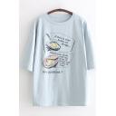 Funny Fried Egg Printed Summer Basic Short Sleeve Graphic T-Shirt