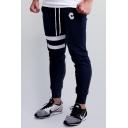 Mens Simple Stripe Printed Drawstring Waist Cotton Sport Joggers SweatPants Slim Fit Pencil Pants