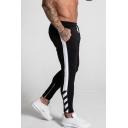 Mens Stripe Side Drawstring Waist Cotton Skinny-fit Sport Joggers Pencil Pants