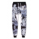 Black and White Comic Figure 3D Printed Drawstring Waist Sport Joggers Sweatpants