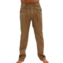 Chinese Style Solid Tie Waist Cotton Loose Casual Straight Linen Trousers