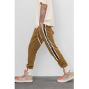 Retro Stripe Side Letter Drawstring Waist Casual Sporty Track Pants