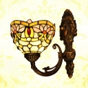 Tiffany Style Colorful Wall Lamp Lotus Pattern Stained Glass Sconce Light for Restaurant Shop