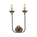Metal Candle Shape Wall Light Fixture 2 Lights Rustic Style Sconce Light for Hallway Stair