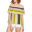 Colorful Striped Printed Off The Shoulder Flutter Sleeve Chiffon Tee