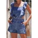 Womens New Stylish Solid Color Square Neck Ruffled Hem Zip Back Blue Denim Romper