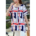 Red and Blue Colorblocked Round Neck Womens Summer Loose Fit T-Shirt