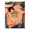 RADIATE POSITIVITY Letter Rainbows Printed Orange Round Neck Short Sleeve Tee